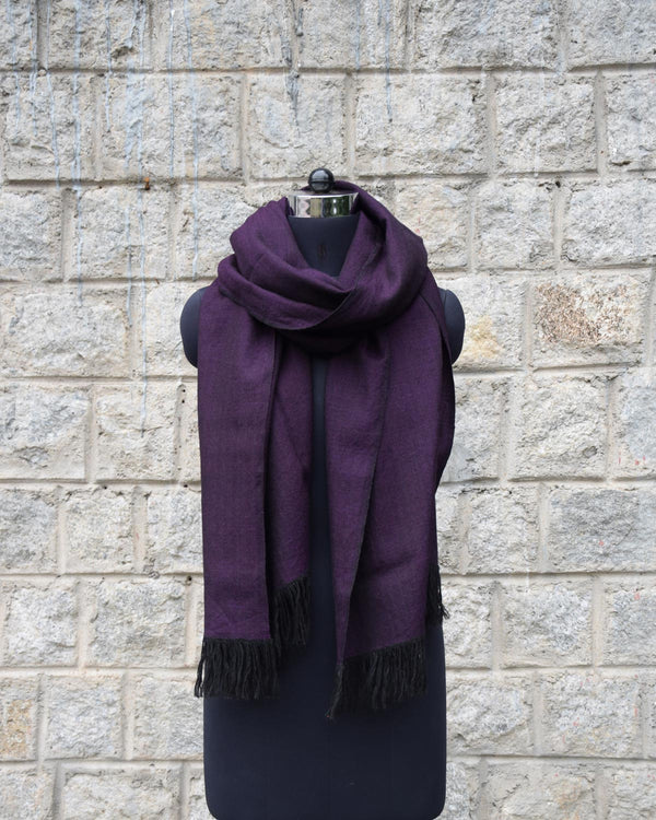 Wool Scarf Herringbone - Purple