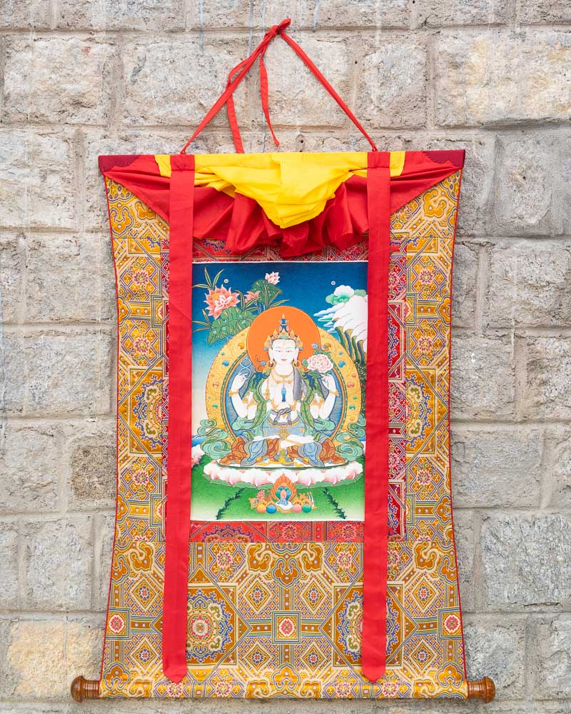 Four Armed Avalokiteshvara Painted Thangka