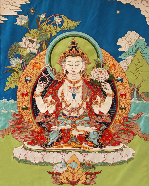 Four Armed Avalokiteshvara Applique Thangka -2ft