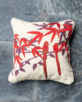 Paradise Flycatchers Applique Cushion Cover (Red)
