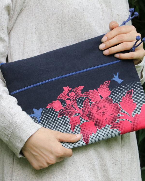Ipad Case, Birds & Flowers - Black