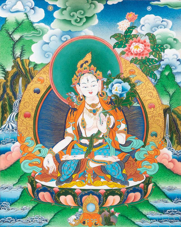 White Tara Painted Thangka