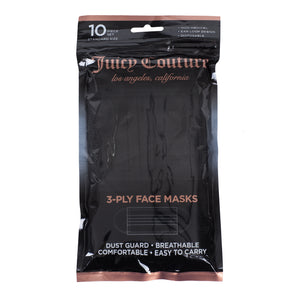 Juicy Couture 3-Ply Disposable Face Masks Black Solid (10 Pack)