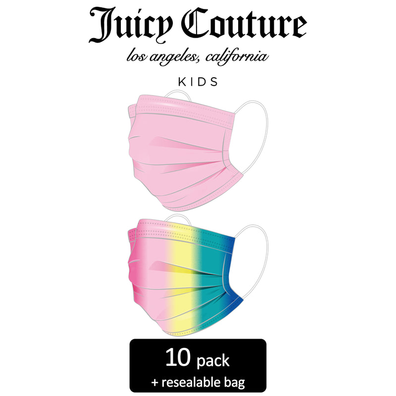 Juicy Couture Kids 3-Ply Disposable Face Masks Light Pink Solid/Ombre Rainbow Travel Pack (10 Masks)