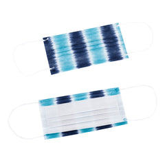 Nautica 3-Ply Disposable Face Masks Tie Dye Stripe/Navy Solid Travel Pack (10 Masks)