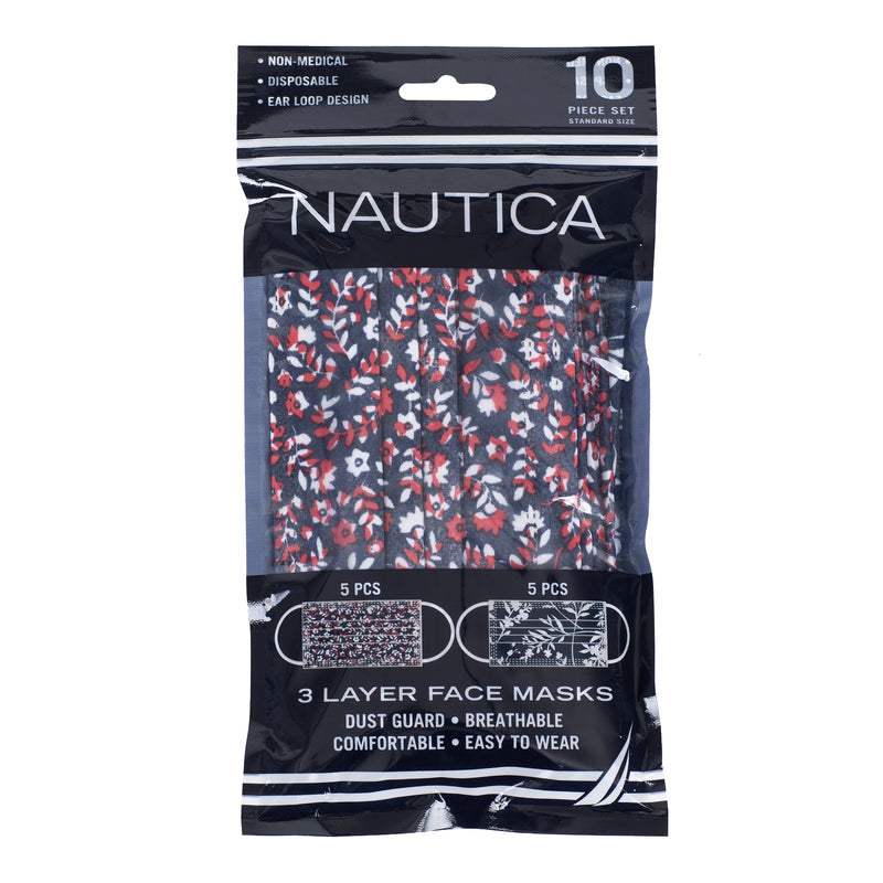 Nautica 3-Ply Disposable Face Masks Ginger Floral/Water Floral Travel Pack (10 Masks)