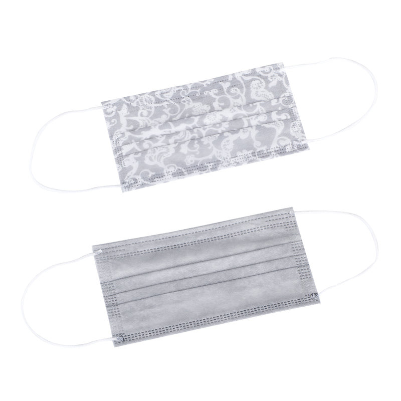 Laura Ashley 3-Ply Disposable Face Masks Lace Print/Gray Solid Travel Pack (10 Masks)