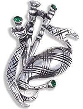 Load image into Gallery viewer, Bagpipes Crystal Brooch