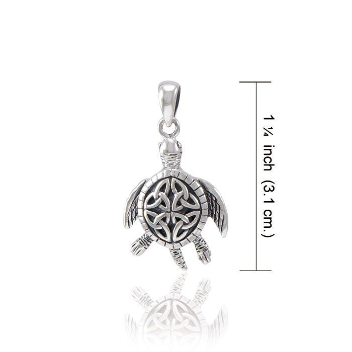 Blue Celtic Turtle Necklace