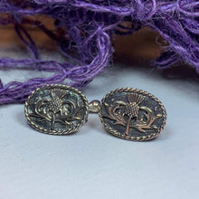 Load image into Gallery viewer, Pewter cuff links features traditional Celtic designs symbolizing love and friendship. Perfect gift for Celtic heritage.