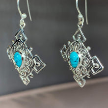 Load image into Gallery viewer, Celtic Spiral Turquoise Earrings