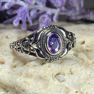 Celtic Knot Ring, Celtic Jewelry, Irish Jewelry, Amethyst Ring, Irish Ring, Irish Dance Gift, Anniversary Gift, Bridal Ring, Wiccan Gift