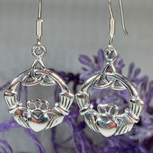 Load image into Gallery viewer, Traditional Irish Claddagh earrings symbolizing love, loyalty and friendship. Sterling silver Irish jewelry Celtic Crystal Designs