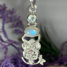 Load image into Gallery viewer, Owl Necklace, Moonstone Jewelry, Bird Pendant, Nature Jewelry, Forest Jewelry, Pagan Jewelry, Mystical Jewelry, Graduation Gift, Mom Gift