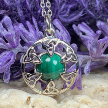 Load image into Gallery viewer, Trinity Knot Malachite Necklace