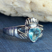 Load image into Gallery viewer, Traditional Irish Claddagh ring symbolizing love, loyalty and friendship. Sterling silver Irish jewelry Celtic Crystal Designs