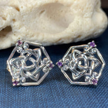 Load image into Gallery viewer, Amethyst Trinity Knot Stud Earrings
