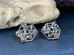 Amethyst Trinity Knot Stud Earrings