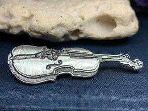 Irish Fiddle Celtic Brooch