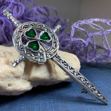 Load image into Gallery viewer, Shamrock Sword Kilt Pin