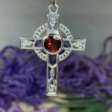 Load image into Gallery viewer, Gemstone Celtic Cross Necklace