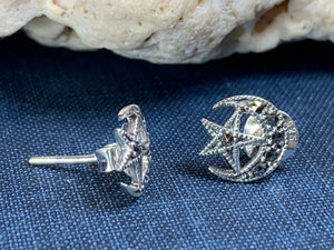 Marcasite Moon Post Earrings