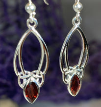 Load image into Gallery viewer, Garnet Trinity Knot Earrings
