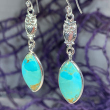 Load image into Gallery viewer, Owl Turquoise Earrings