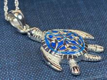 Load image into Gallery viewer, Blue Celtic Turtle Necklace