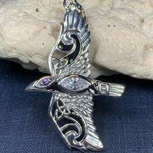 Load image into Gallery viewer, Celtic Raven Necklace, Wiccan Jewelry, Crow Pendant, Irish Jewelry, Bird Jewelry, Pagan Jewelry, Viking Jewelry, Poe Jewelry, Gothic Jewelry