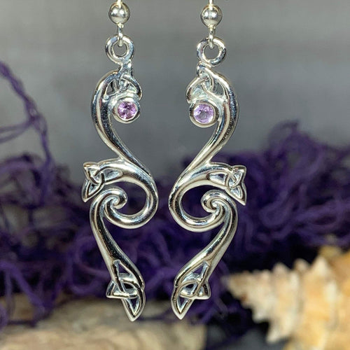 Mystic Trinity Knot Earrings, Irish Jewelry, Celtic Jewelry, Celtic Knot Earrings, Amethyst Jewelry, Anniversary Gift, Scotland Jewelry