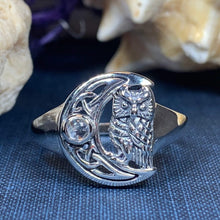 Load image into Gallery viewer, Celtic Owl Moon Ring