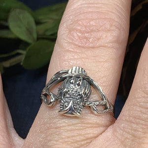 Owl Ring, Bird Jewelry, Owl Jewelry, Nature Jewelry, Celtic Jewelry, Anniversary Gift, Wiccan Jewelry, Pagan Jewelry, Mom Gift, Teacher Gift