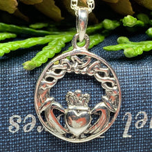 Load image into Gallery viewer, Traditional Irish Claddagh necklace symbolizing love, loyalty and friendship. Sterling silver Irish jewelry Celtic Crystal Designs