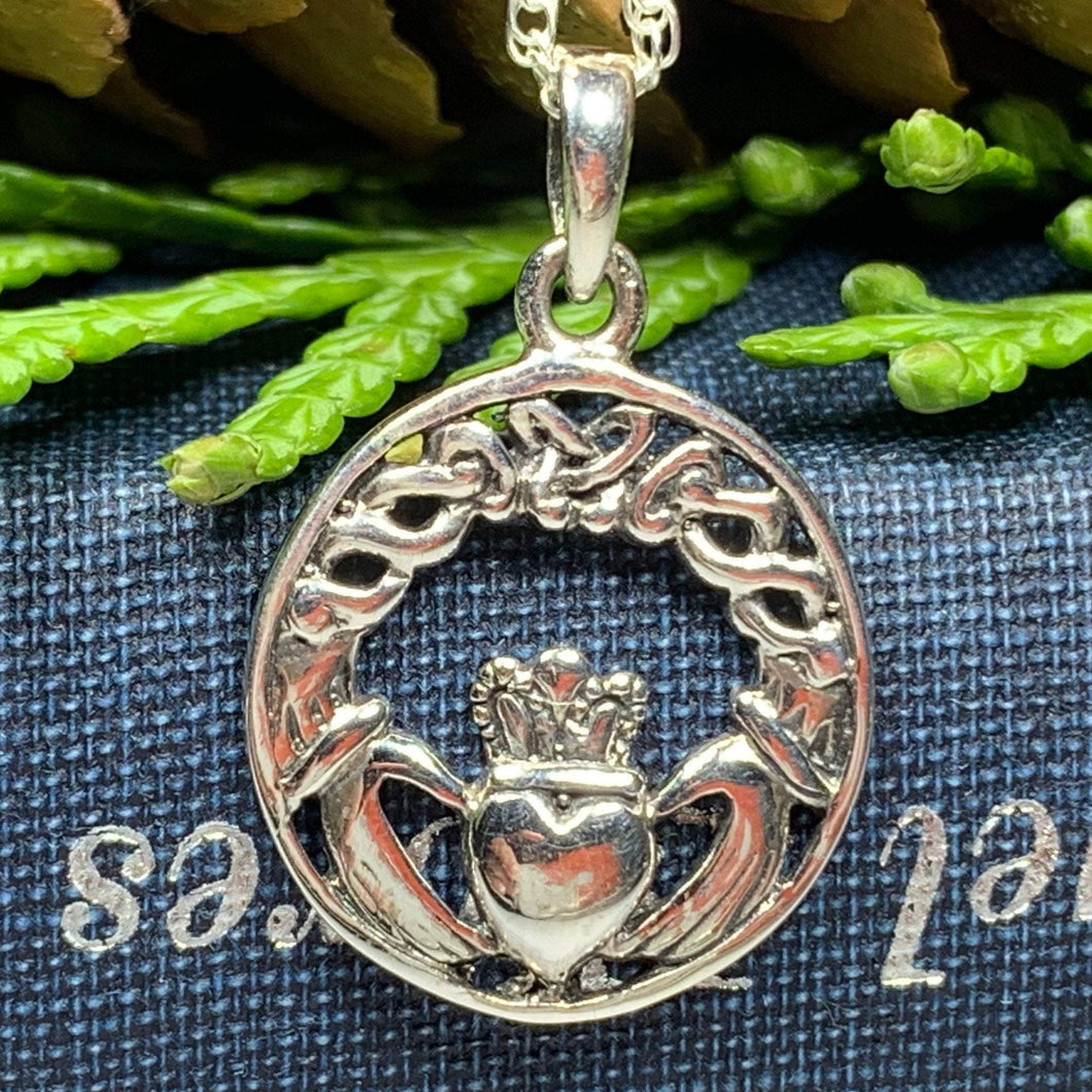 Traditional Irish Claddagh necklace symbolizing love, loyalty and friendship. Sterling silver Irish jewelry Celtic Crystal Designs