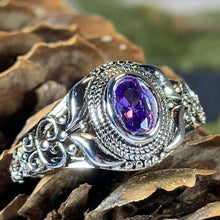 Load image into Gallery viewer, Celtic Knot Ring, Celtic Jewelry, Irish Jewelry, Amethyst Ring, Irish Ring, Irish Dance Gift, Anniversary Gift, Bridal Ring, Wiccan Gift