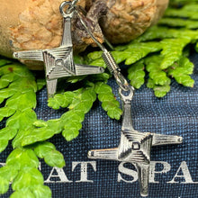 Load image into Gallery viewer, Pewter Saint Briget's Cross Earrings