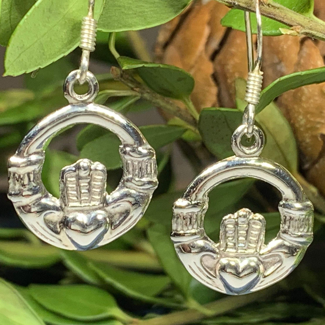 Traditional Irish Claddagh earrings symbolizing love, loyalty and friendship. Sterling silver Irish jewelry Celtic Crystal Designs