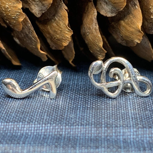 Music Note Stud Earrings, Music Earrings, G Clef Earrings, Gift for Her, Silver Studs, Sister Gift, Musician Gift, Choir Jewelry, Wife Gift