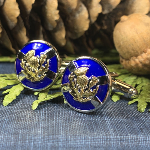 Thistle Cuff Links, Scotland Jewelry, Celtic Jewelry, Dad Gift, Bagpiper Gift, Groom Gift, Best Man Gift, Boyfriend Gift, Saltire Jewelry