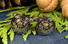 Load image into Gallery viewer, Thistle Cuff Links, Scotland Jewelry, Celtic Jewelry, Dad Gift, Bagpiper Gift, Groom Gift, Best Man Gift, Boyfriend Gift, Husband Gift