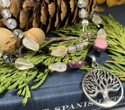 Tree of Life Necklace, Celtic Jewelry, Irish Jewelry, Boho Necklace, Yoga Jewelry, Wiccan Jewelry, Crystal Necklace, Aunt Gift, Mom Gift