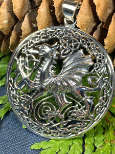 Welsh Dragon Necklace, Wales Necklace, Celtic Dragon, Celtic Jewelry, Silver Dragon, Pagan Jewelry, Wiccan Jewelry, Fantasy Jewelty