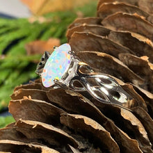 Load image into Gallery viewer, Scottish Mist Celtic Ring, Celtic Jewelry, Scotland Jewelry, Opal Jewelry, Trinity Knot Jewelry, Anniversary Gift, Bridal Jewelry, Mom Gift