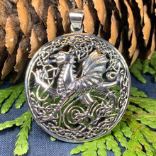 Load image into Gallery viewer, Welsh Dragon Necklace, Wales Necklace, Celtic Dragon, Celtic Jewelry, Silver Dragon, Pagan Jewelry, Wiccan Jewelry, Fantasy Jewelty