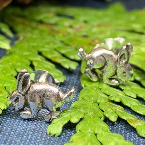 Bunny Earrings, Nature Jewelry, Animal Jewelry, Hare Jewelry, Rabbit Stud Earrings, Anniversary, Wife Gift, Friendship Gift, Runner Gift