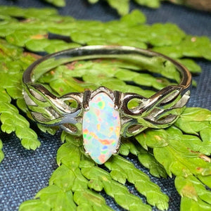Scottish Mist Celtic Ring, Celtic Jewelry, Scotland Jewelry, Opal Jewelry, Trinity Knot Jewelry, Anniversary Gift, Bridal Jewelry, Mom Gift