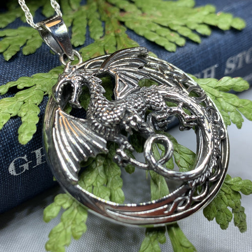 Dragon Moon Necklace, Celtic Jewelry, Pagan Jewelry, Gothic Necklace, Wiccan Jewelry, Welsh Dragon Pendant, Pagan Jewelry, Wales Jewelry