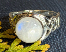 Load image into Gallery viewer, Celtic Knot Ring, Moonstone Jewelry, Moonstone Ring, Irish Jewelry, Celtic Jewelry, Anniversary Gift, Wiccan Jewelry, Wife Gift, Mom Gift