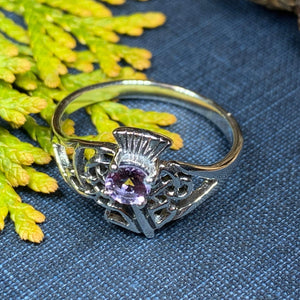 Thistle Ring, Celtic Jewelry, Scotland Jewelry, Amethyst Jewelry, Outlander Jewelry, Nature Ring, Thistle Jewelry, Mom Gift, Wife Gift